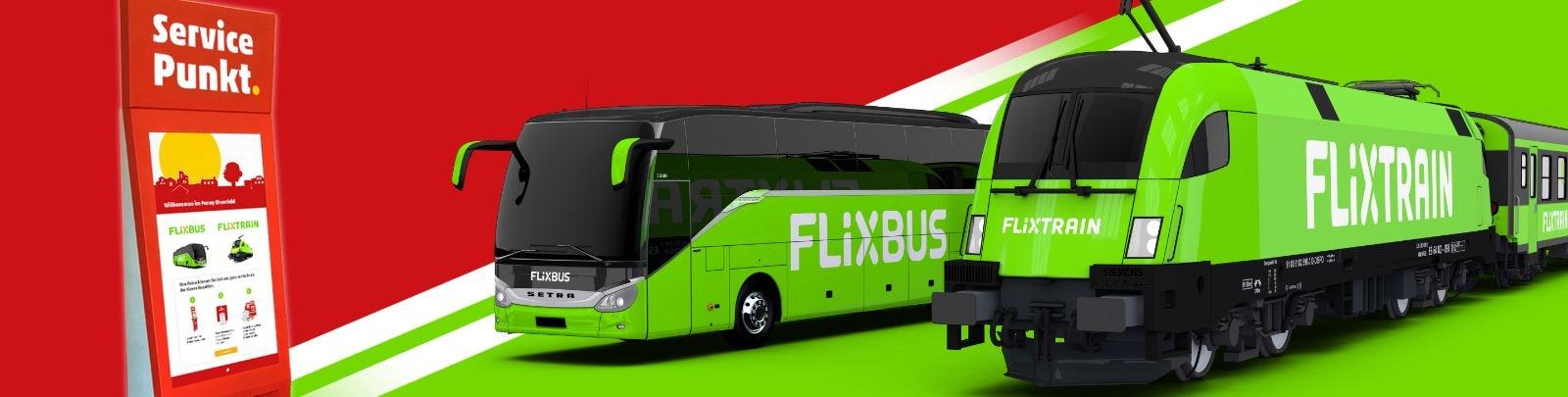 Penny Service Punkt und FlixBus und FlixTrain