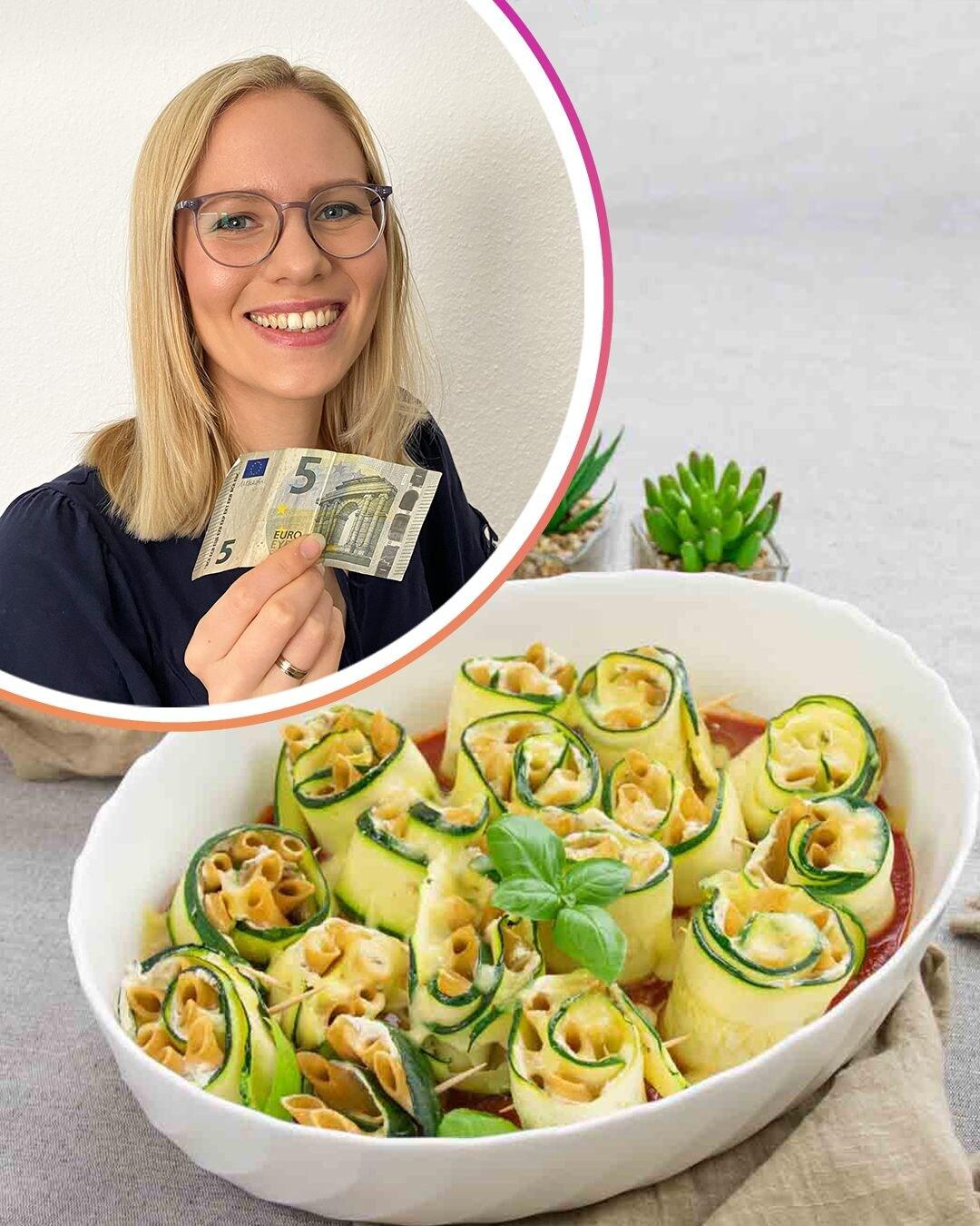 Auf diesem Bild siehst du Milenas Zucchiniröllchen.